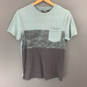 Vans Men's Mint and Gray Palm Print Pocketed Tee